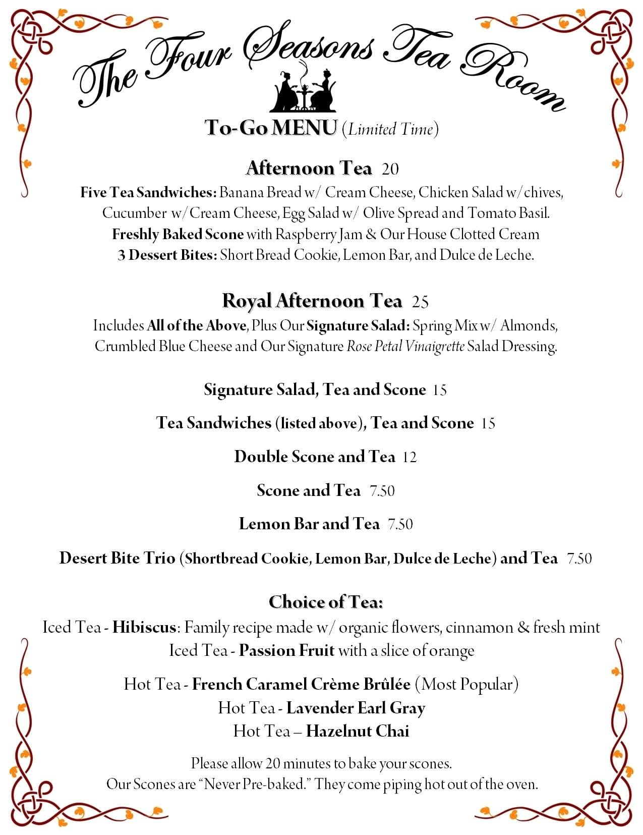 Four Seasons Tea Room menu