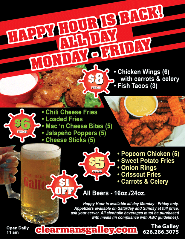Galley Monday through Friday Happy Hour