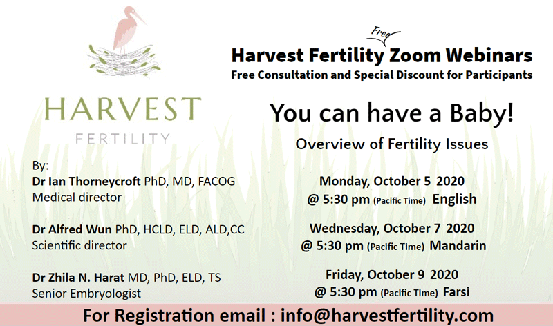 Harvest Fertility Zoom Webinars