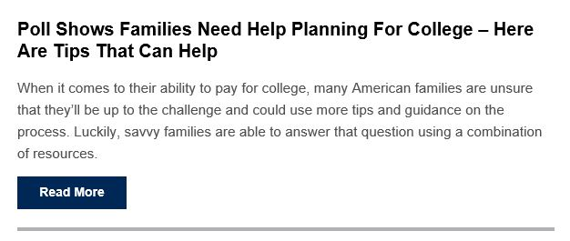 Poll Shows Familiar Need Help Planning For College