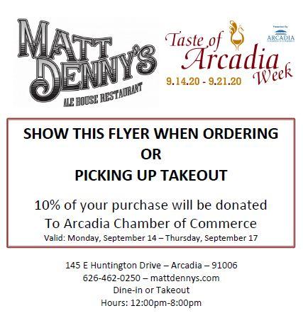Matt Denny's supports Arcadia Chamber for Taste week