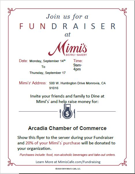 Visit Mimi's to support the Arcadia Chamber during Taste of Arcadia Week