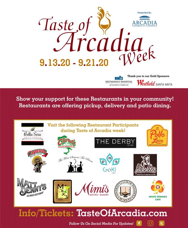 Taste of Arcadia Week Restaurant Participants