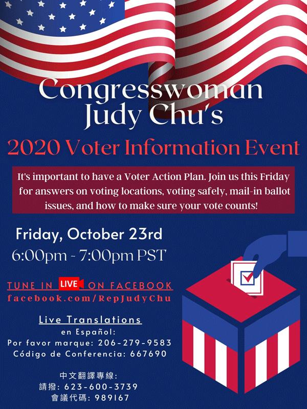Judy Chu Voter Information