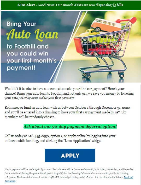 Foothill Credit Union Newsletter October