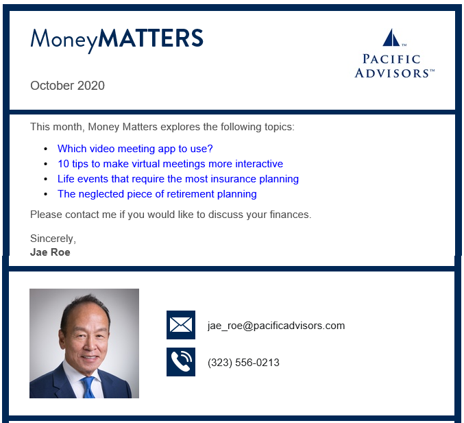 Jae Roe Money Matters October