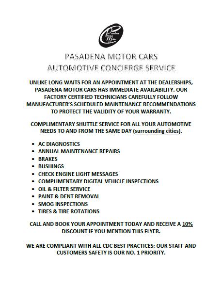 Pasadena Motor Cars Concierge Service