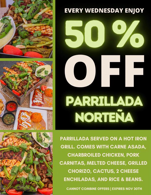 Cabrera's 50% off Parrillada Nortena
