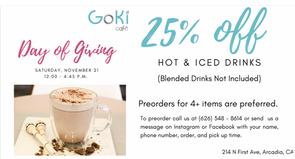 Goki Cafe Day of Giving promo