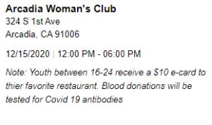 Woman's Club Blood Drive info
