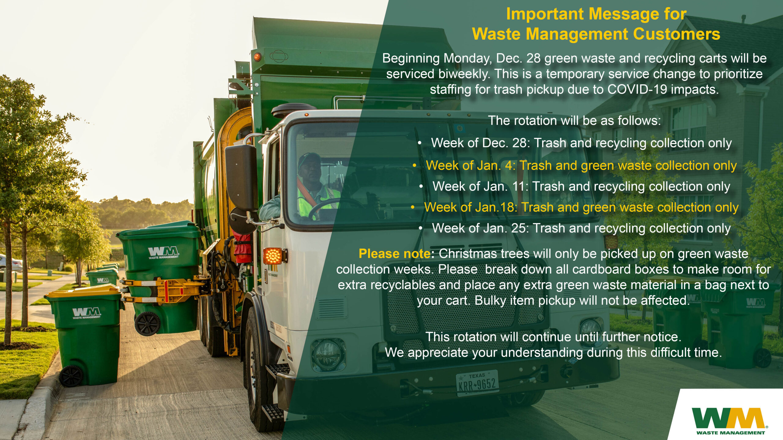 Green Waste Recycle Schedule Change - SG