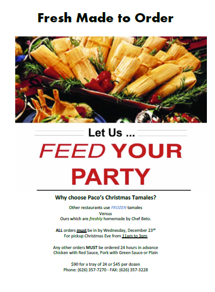 feed your party with Paco's tamales