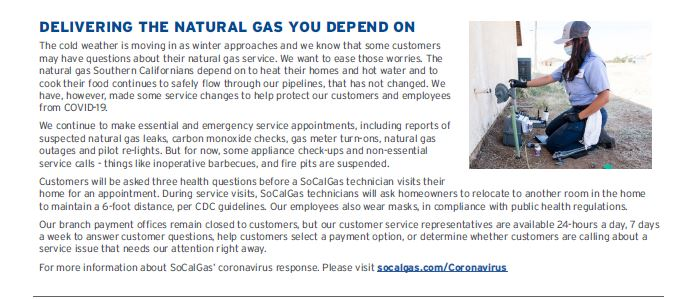 SoCal Gas delivering gas