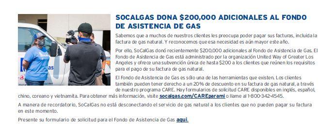 SoCal Gas donated spanish