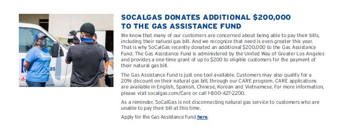 SoCal Gas donated