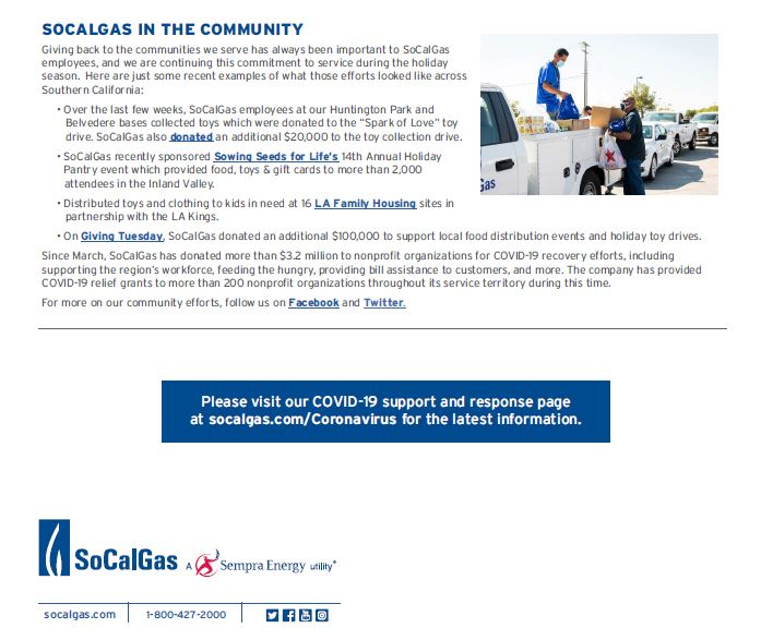 SoCal Gas in the community