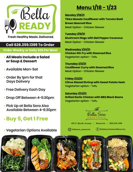 Bella Ready menu January 18th
