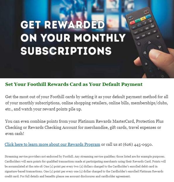 Foothill CU 2 subscription reward