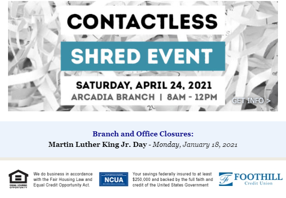 Foothill CU 7 shred event