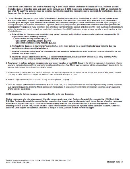 HSBC deposit disclaimer note