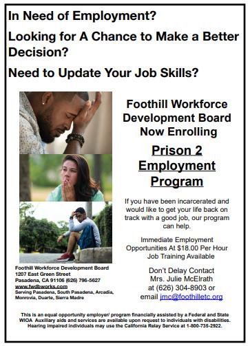 Foothill Workforce Development Prison Employment Program