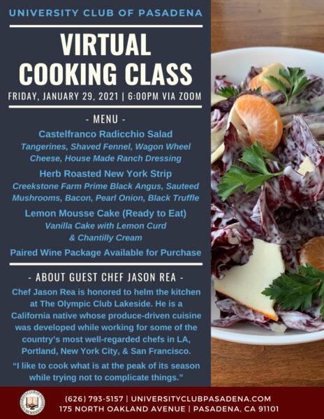 University Club Virtual Cooking Class