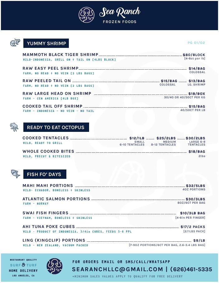 Sea Ranch Frozen Foods menu