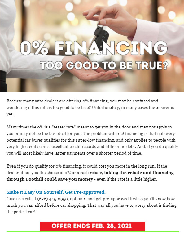 Foothill Credit Union 0% Financing