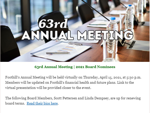 Foothill Credit Union 63rd Annual Meeting