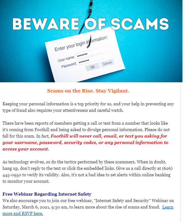 Foothill Credit Union beware of scams