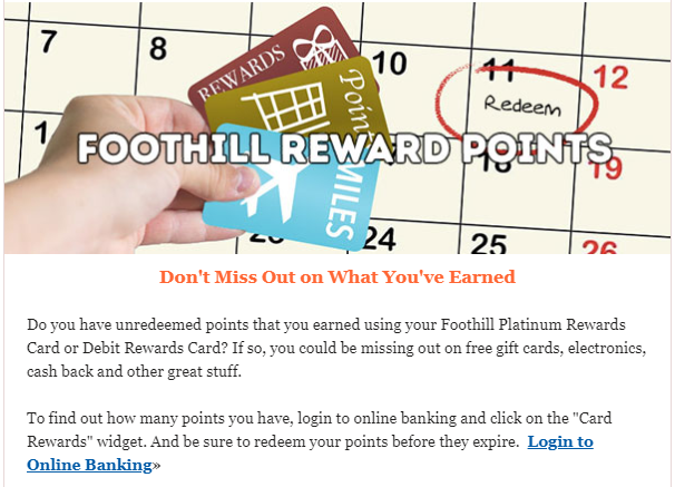 Foothill Credit Union Rewards Points
