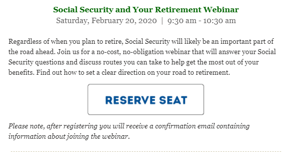 Foothill Credit Union free webinar social security