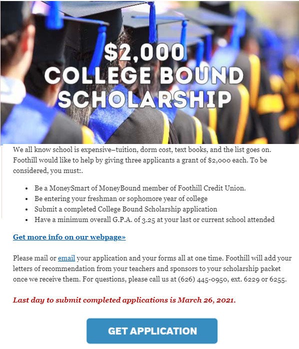 Foothill Credit Union College Bound Scholarship
