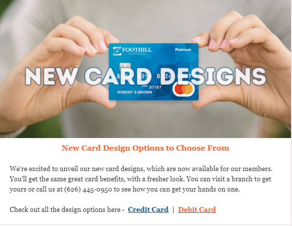 Foothill Credit Union new card designs