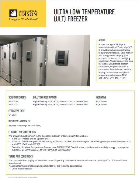 SCE Low Temperature Freezer incentive