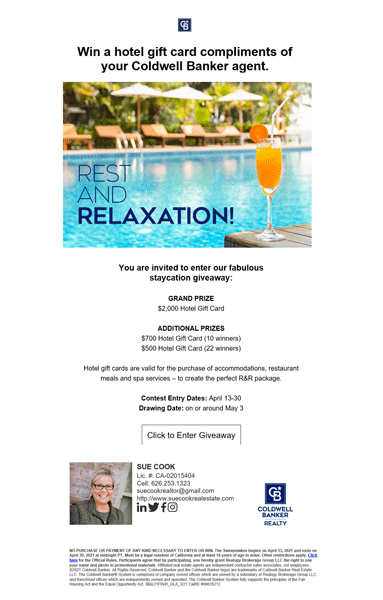 Sue Cook Coldwell Banker Contest