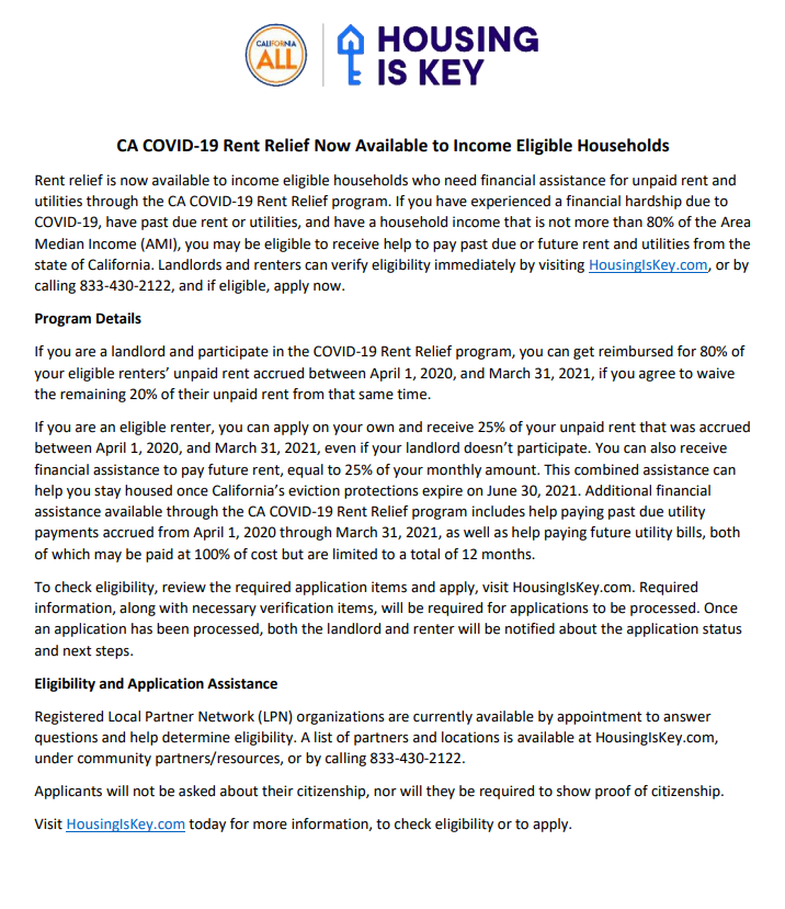 Housing is Key newsletter