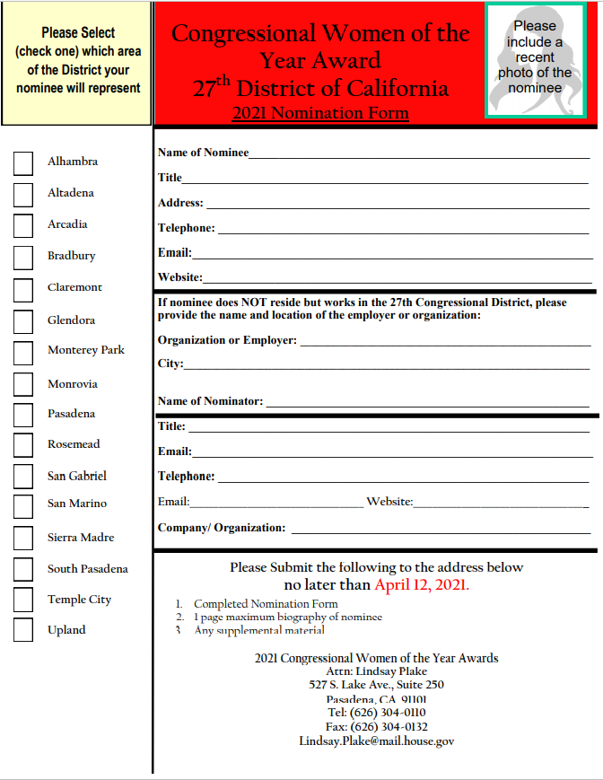 Judy Chu Woman of the Year awards nomination form