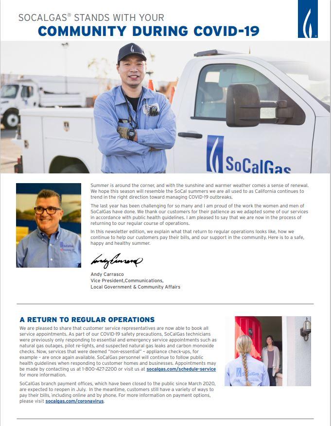 SoCalGas COVID assistance programs flyer