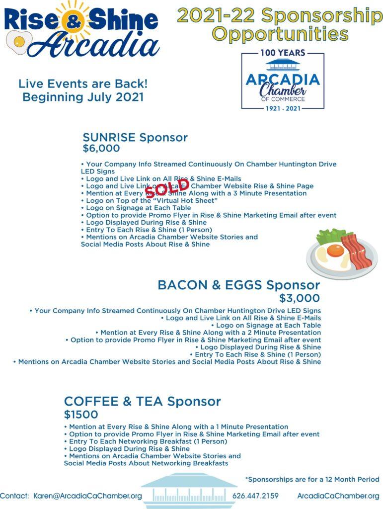 Rise & Shine Arcadia Sponsorship flyer for 2021
