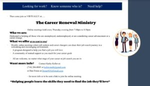Career Renewal Ministry job seeker flyer