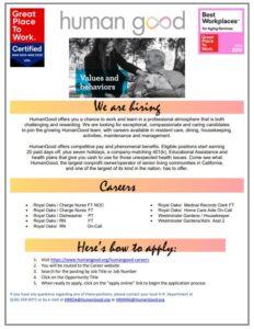 HumanGood job opportunities flyer