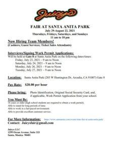 Juicys LLC job posting flyers for Santa Anita Park Fair