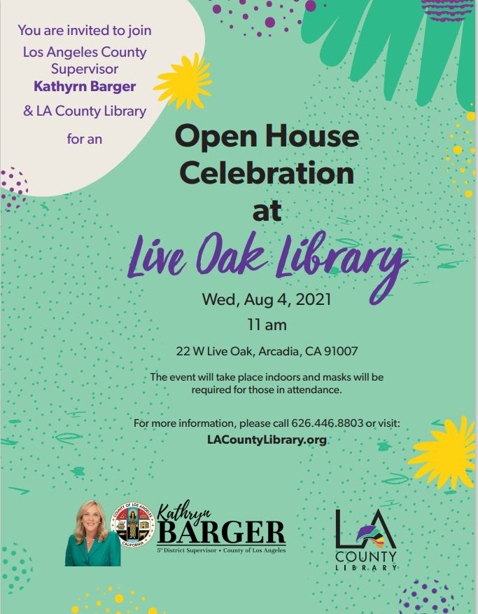 flyer for Arcadia Live Oak Library
