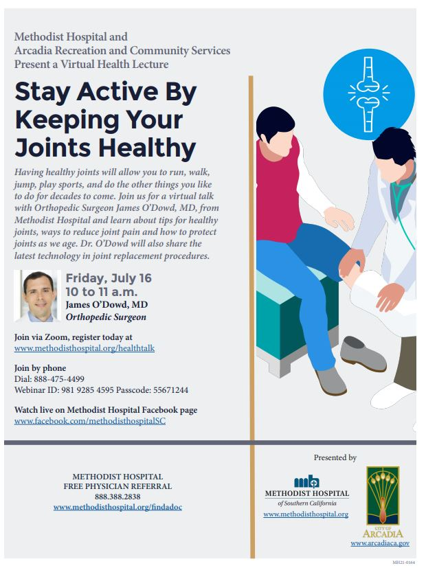 Flyer for Methodist hospital Virtual Health Talk to Stay Active by Keeping Your Joints Healthy