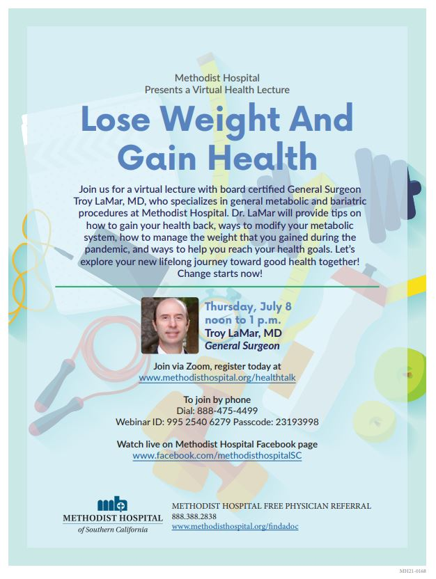 Methodist Hospital Lecture Lose Weight and Gain Health flyer