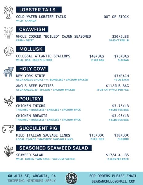 Sea Ranch specials menu
