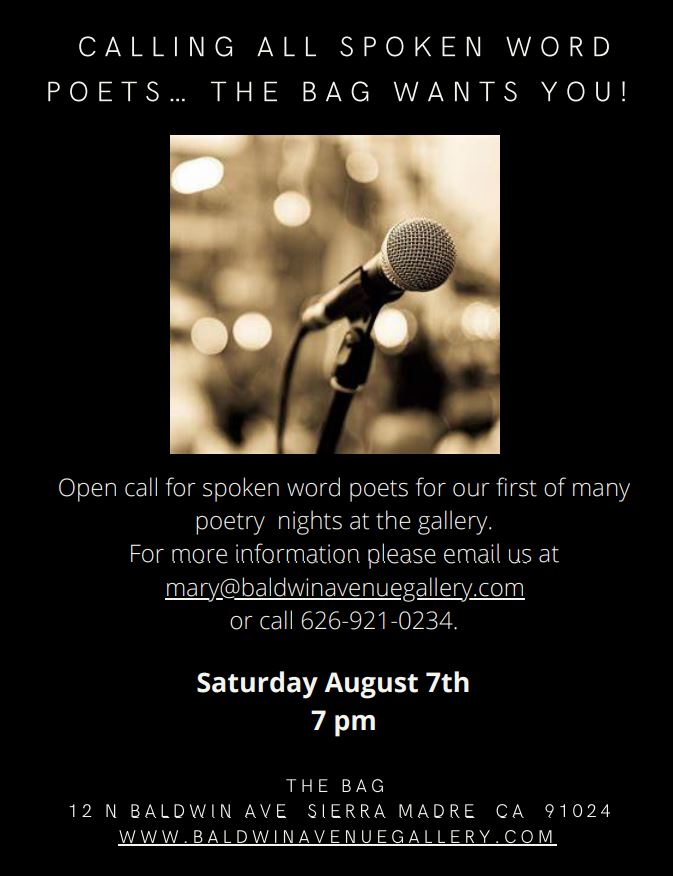 flyer for the BAG seeking spoken word poets