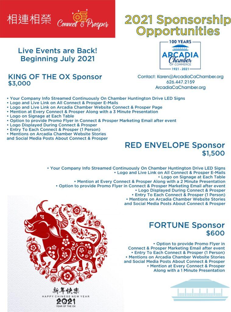 flyer for Connect & Prosper sponsorship opportunities