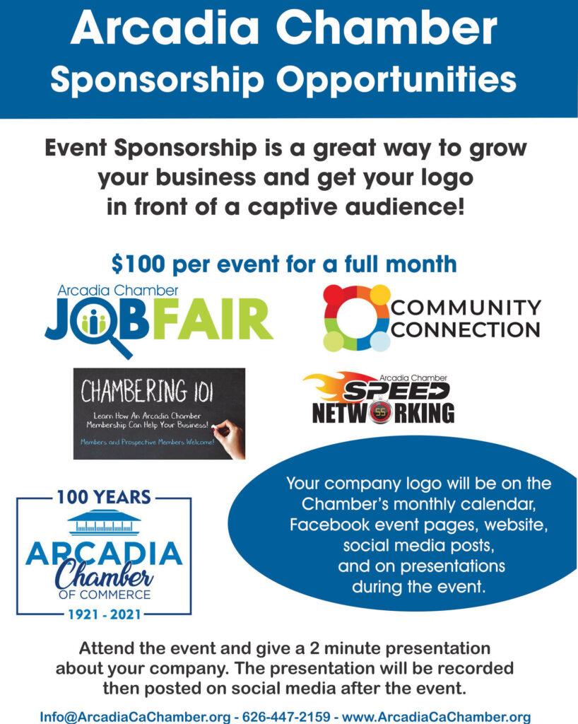 flyer for Arcadia Chamber event sponsorships